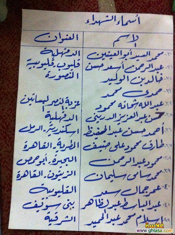 اسماء ضحايا اشتباكات فض اعتصام رابعة العدوية من جميع المحافظات ghlasa137656846925.jpg