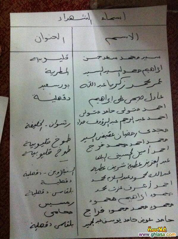 اسماء ضحايا اشتباكات فض اعتصام رابعة العدوية من جميع المحافظات ghlasa1376568469277.jpg